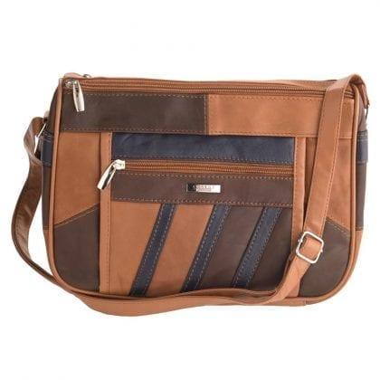 Ladies Soft Genuine Leather Twin Zipped Patch Handbag