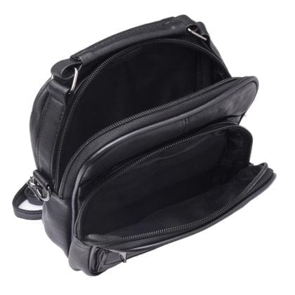 Soft Leather Travel - Work - Cross Body Bag - Open