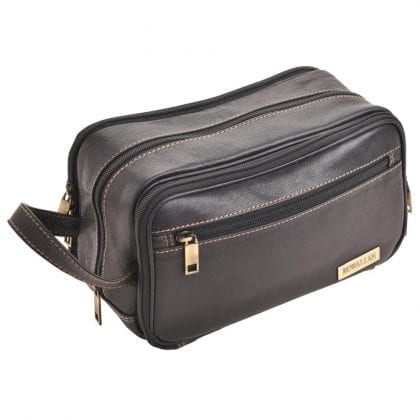 Triple Zipped Quality Leather Wash - Toiletry Bag by Rowallan - Main
