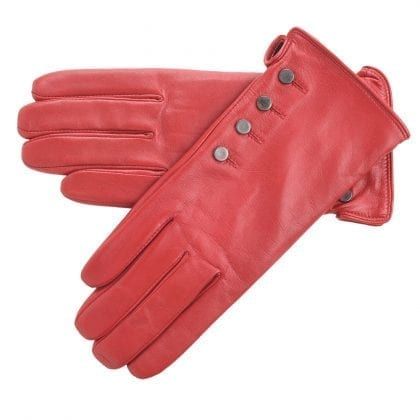 Ladies Genuine Leather Gloves with Popper Detailing
