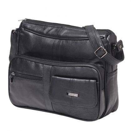 Ladies Soft Genuine Leather Organiser Cross Body Bag - Front