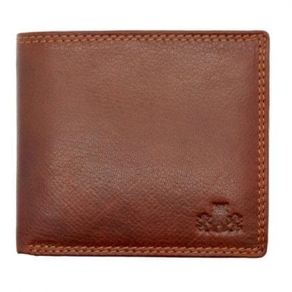 Mens Hand Finished Genuine Leather Card Wallet with Twin Note Compartments by Rowallan - Front