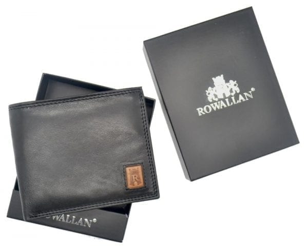 Mens Smooth Leather Hand Finished Card Wallet with Flap Over ID Window by Rowallan - Box Presentation