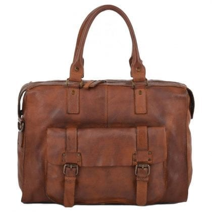 Genuine Rustic Leather Weekend Overnight Bag
