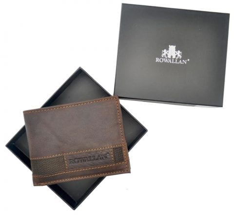 Mens High Quality Rustic Leather Wallet with Multiple Card Slots by Rowallan - Box Presentation