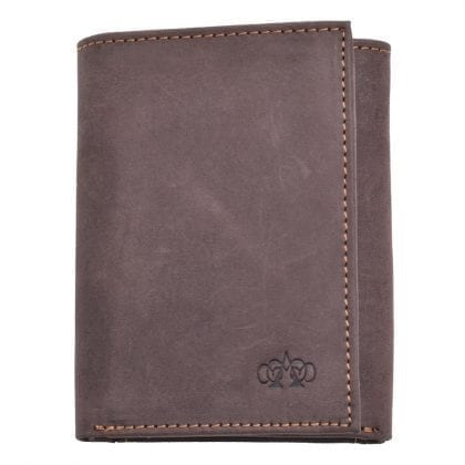 Arnicus Mens Small Distressed Genuine Leather Trifold Wallet