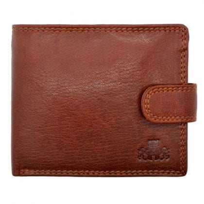 Mens Hand Finished Genuine Leather Wallet with Zipped Note Compartment by Rowallan - Front