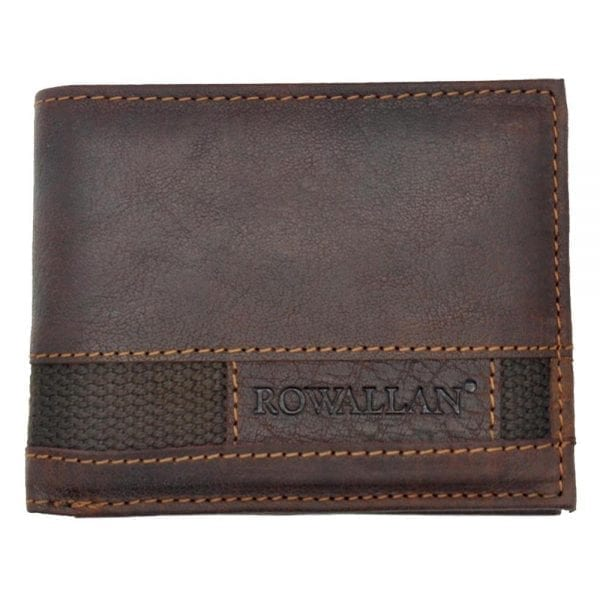 Mens High Quality Rustic Leather Wallet with Multiple Card Slots by Rowallan - Front