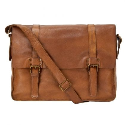 Genuine Rustic Leather Messenger Commuter Bag
