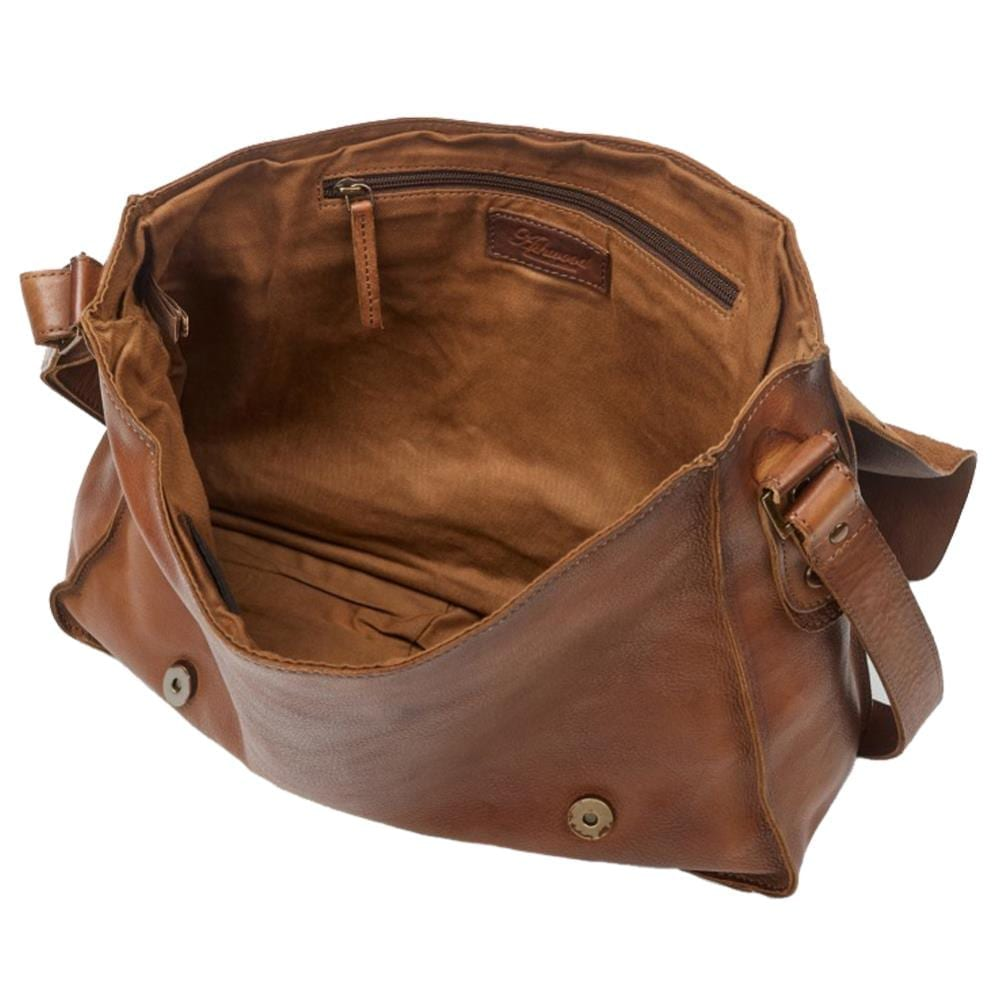 Genuine Rustic Leather Messenger Commuter Bag - Open