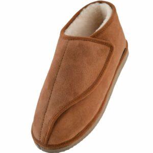 Mens Genuine Merino Sheepskin Ankle Bootie Slippers