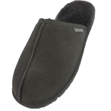 Mens Genuine Real Sheepskin Mule Slippers with Rubber Sole