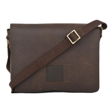 Genuine Leather Flap Over Messenger Laptop Bag