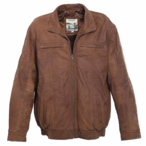 Mens Full Soft Leather Centre Zip Leather Jacket by Ashwood