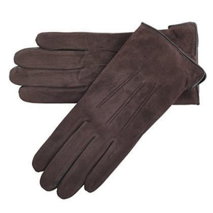 Ladies Premium Grade Leather Gloves with Suede Top - Brown