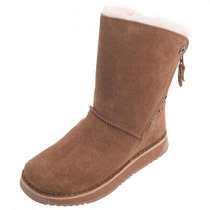 Ladies Genuine Sheepskin Biker Style Boots with Side Zip-0