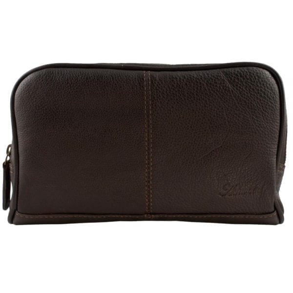 High Quality Genuine Leather Wash - Shaving - Toiletry Bag by Ashwood in Brown