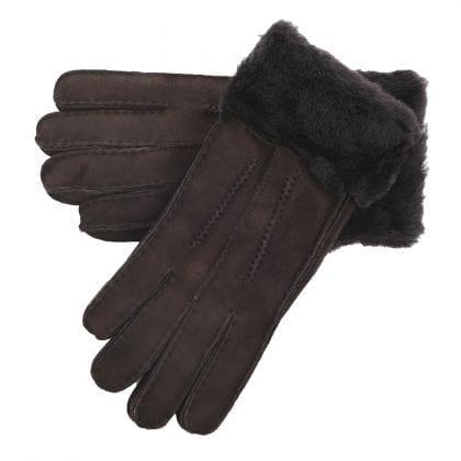 Ladies Genuine Sheepskin Cuffed Panel Gloves-0