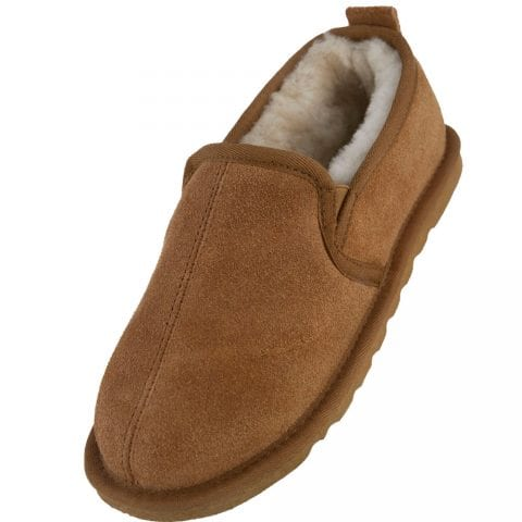 Mens Genuine Sheepskin Lined Slipper Boots with Hard Wearing Sole