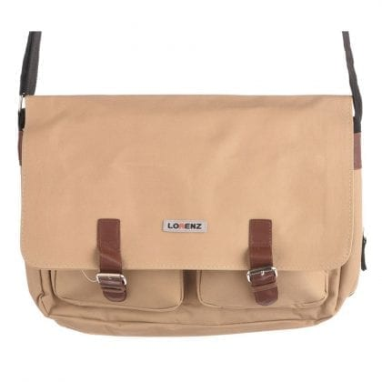 Expandable Canvas Messenger Bag with Fold Over Flap
