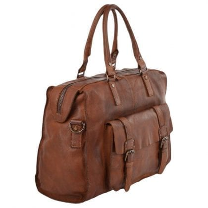 Genuine Rustic Leather Weekend Overnight Bag - Side View