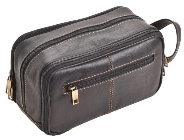 Triple Zipped Quality Leather Wash - Toiletry Bag by Rowallan - Back