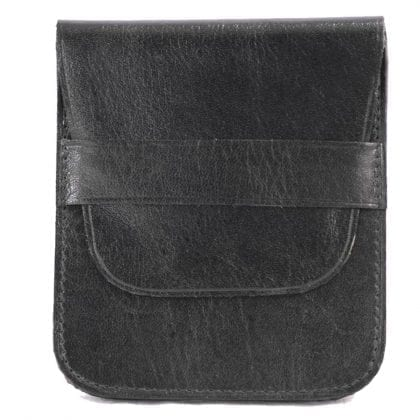 Genuine Leather Pocket Purse - Coin Holder With Double Flap