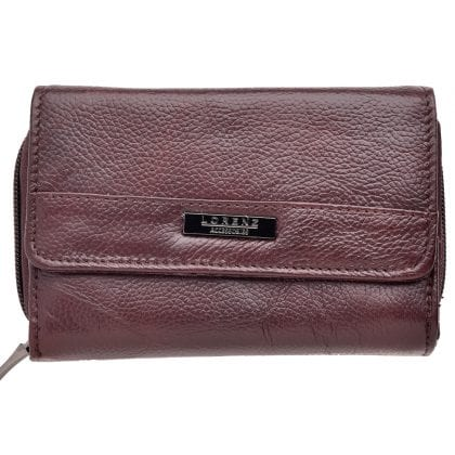 Ladies Genuine Grained Leather Purse with Double Card Swing Section