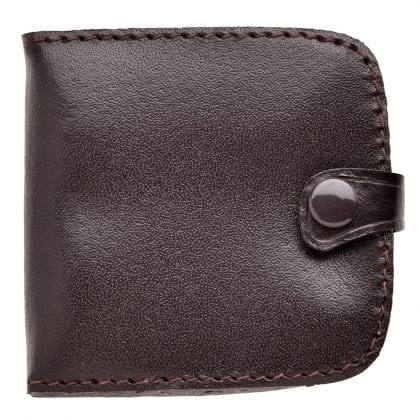 Genuine Grained Leather Square Tray Purse with Note Section