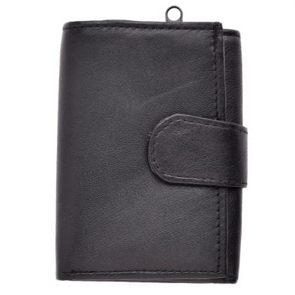 Mens Genuine Leather Tri-fold Wallet with Rear External Coin Holder