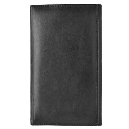 Mens Smooth Genuine Cow Calf Leather Long Jacket Wallet