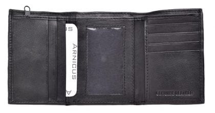 Mens Genuine Leather Tri-fold Wallet with Rear External Coin Holder - Open