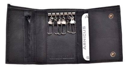 Genuine Soft Leather Popper Fastened Key Case Wallet - Open