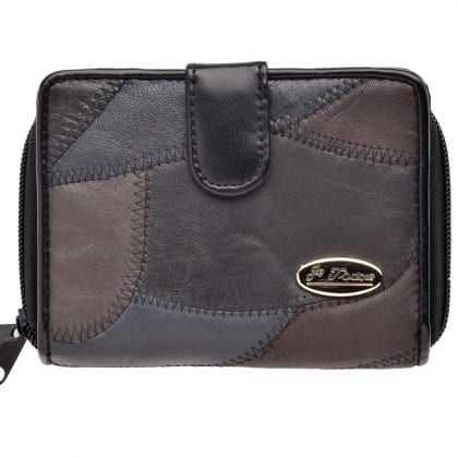 Ladies Genuine Soft Nappa Leather Patchwork Organiser Purse