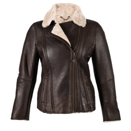 Ladies Luxury Leather and Sheepskin Jacket with Aviator Finish