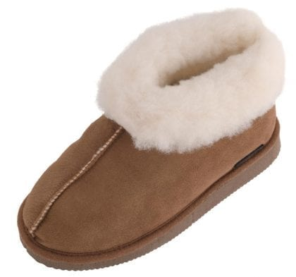 Girls Genuine Sheepskin Bootee Slippers with Hard Sole - Front