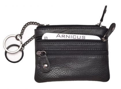 Arnicus Genuine Grained Leather Triple Zipped Leather Pouch with Dual Key Loops-171854