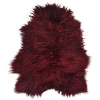 Long Wool Icelandic Burgundy Sheepskin Rug - Main