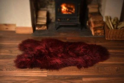 Long Wool Icelandic Burgundy Sheepskin Rug - Lifestyle