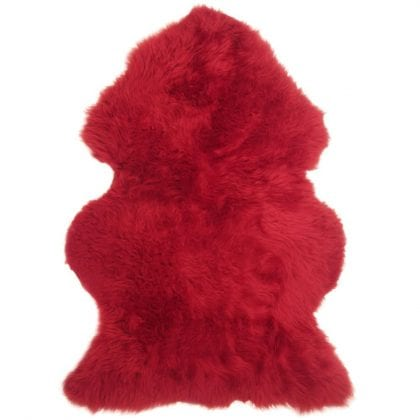 British Premium Quality Red Sheepskin Rug-0
