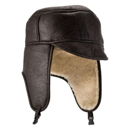 Mens Aviator Finished Genuine Sheepskin Hat with Buckle Fastening