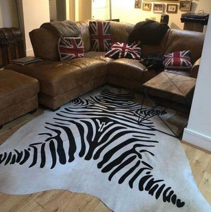 Super Size Zebra Print Genuine Cow Hides - Lifestyle