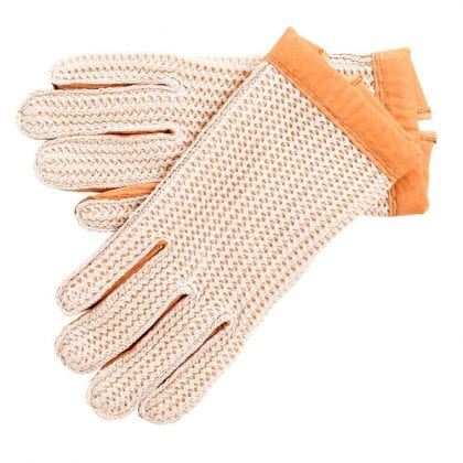 Ladies Tan Coloured Genuine Leather Driving Gloves
