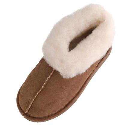 Girls Genuine Sheepskin Bootee Slippers with Hard Sole
