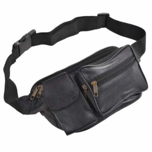 Arnicus Super Soft Leather Waist Bag with Multiple Zipped Pockets - Front