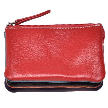 Super Soft Leather Zipped Coin - Key Holder in Multi Colours by Primehide