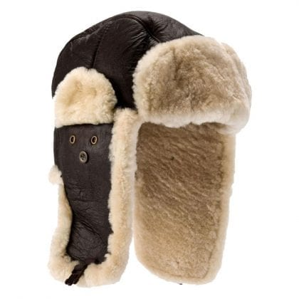 Mens Aviator Finished Genuine Sheepskin Flying Hat with Push Clip Fastening