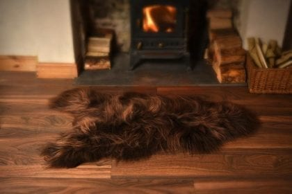 Long Wool Icelandic Chocolate Brown Sheepskin Rug - Lifestyle