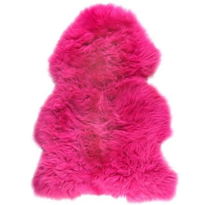British Premium Quality Fuschia Sheepskin Rug-0