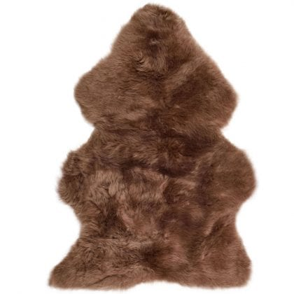 British Premium Quality Otter Brown Sheepskin Rug-0